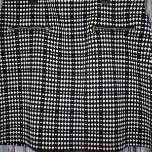 Loft Women's Black White Skirt L Elastic Waist New